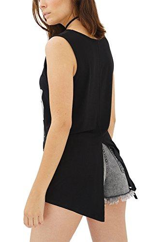 trueprodigy Casual Mujer Marca Camiseta De Tirantes con impresión Estampada Ropa Retro Vintage Rock Vestir Moda Cuello Redondo Sin Manga Slim Fit Designer Fashion Top, Colores:Black, Tamaño:S