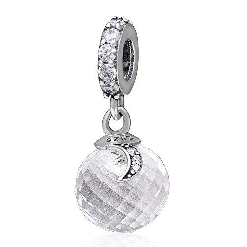 925 Sterling zilveren bal bedeltje maan bedeltje ster charme liefde bedeltje verjaardag bedeltje voor Pandora bedeltje armband