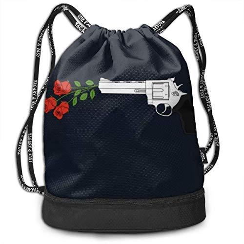 Ligero multifunción GUN-S y RO-SES Paquete de moda Mochila Bolsos de hombro Bolso con cordón al aire libre para mujeres / hombres