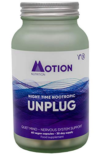 Motion Nutrition Unplug Night Time Nootropic - Award Winning Formula to Promote Sweet Dreams + Soothe Mood - Nootropics Brain Supplement w. Magnesium - Supports Nervous System (30 Day Supply 60 Caps)