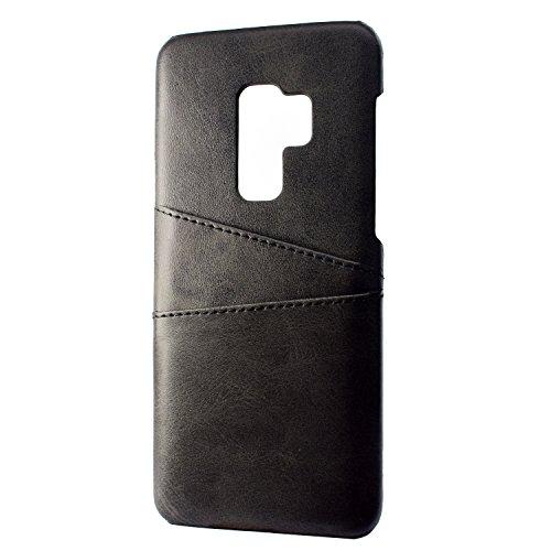 stengh Funda Samsung SM-G965F Galaxy S9+ TD-LTE/Galaxy S9 Plus SM-G965U SM-G965F/DS SM-G965W SM-G965DDoble Ranura de la Tarjeta en Cuero de la Funda Case Cover Black