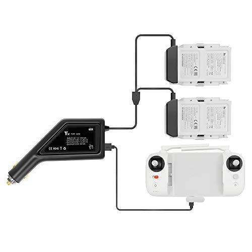 Rantow Max 6A Caricabatterie All'aperto Accendisigari Adattatore per Caricabatterie per Auto per FIMI X8 SE Drone - con Porta USB Ricarica per 2 batterie + 1 Controller/Telefono/Tablet