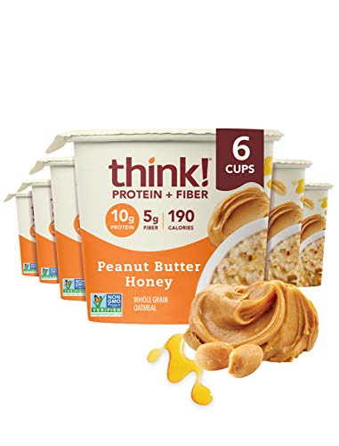 think! (thinkThin) Instant Oatmeal Cups - Protein & Fiber - Steel Cut Oats, 5g Fiber, Non GMO, 10g Protein, Peanut Butter Honey, 6 Cups - Packaging May Vary
