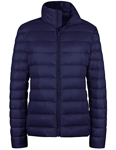 Wantdo Womens Packable Down Jacket Outwear Packable Light Weight Coat Navy Large