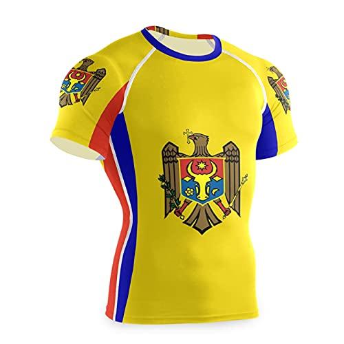 Magnesis Moldova Flag - Maglietta da allenamento a maniche corte da uomo Multi L