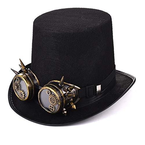 Steampunk Victorian Gears Costume Chapeau Noir Cheveux Steam Punk Verre Lunettes Cosplay/Fête