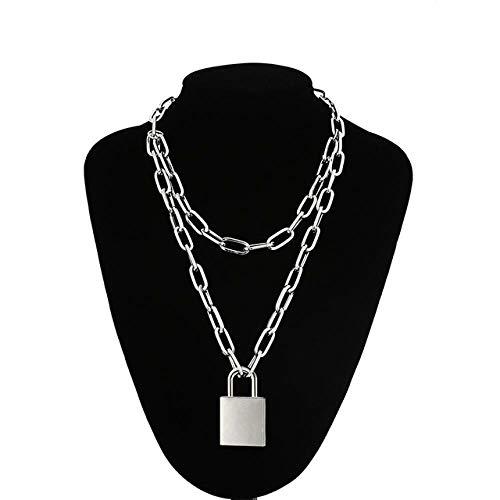 SUNMM Doppelte Kette Halskette Mit Schloss Lady/Men Punk Rock Vorhängeschloss Anhänger Halskette Gothic Schmuck, Silber