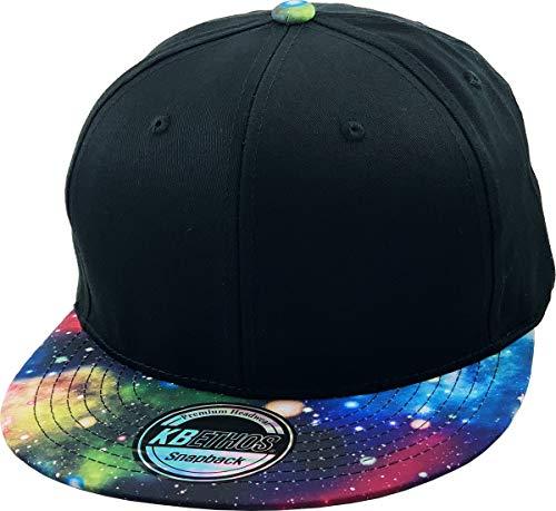 KNW-1469GX BLK-BLK Galaxy Leaf Hologram Floral Aztec Bandana Print Brim Snapback Hat Baseball Cap