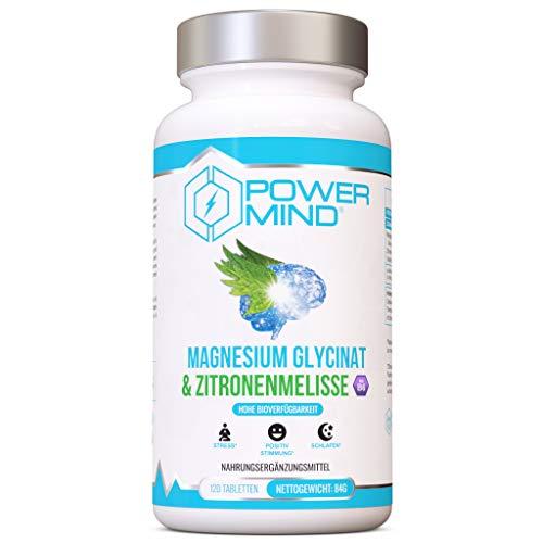 POWERMIND - Magnesium Glycinat und Zitronenmelisse - Hohe Absorption - Davon 300 mg Elementares Magnesium