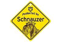 Protected by Schnauzer スモールサインボード:シュナウザー 監視中 ミニ看板 アメリカ製 Made in U.S.A [並行輸入品]