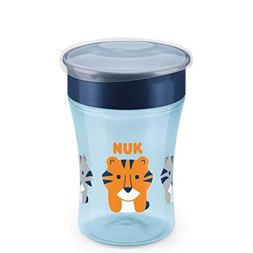 NUK Magic Cup Trinklernbecher, 360° Trinkrand, auslaufsicher abdichtende Silikonscheibe, 8+ Monate, BPA-frei, tiger (blau), 230 ml
