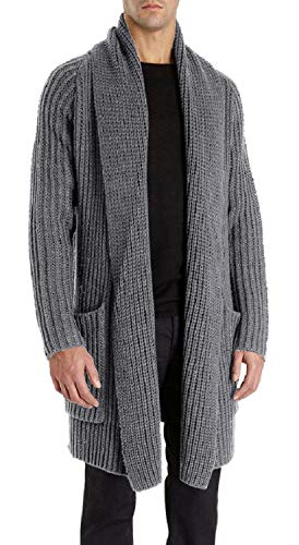 Pengfei Mens Cardigan Sweaters Open Front Chunky Knit Shawl Collar Long Sleeve Jacket Coat Grey