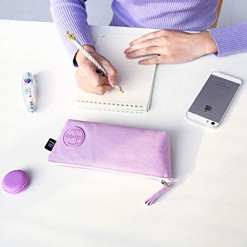 nohbi Caja de Almacenamiento de Escritorio Escolar,Estuche de lápices trapezoidales de Color Liso, Bolsa de papelería con Cremallera de Lona, púrpura,para lápices, Maquillaje, papelería