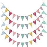 Wimpelkette Outdoor 4 Stück Girlande daraußen Wimpel Banner Mehrfarbig Stoff Dreieck Flagge Bunting für Hochzeit Party Weihnachten Geburtstagsfeier (4.2M 12Pcs Wimpel/Jede Girlande) (4.2M)