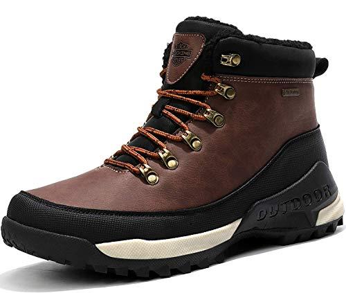 AX BOXING Hombre Botines Zapatos Botas Nieve Invierno Botas Impermeables Fur Forro Aire Libre Boots (43 EU, A98509-Marrón)