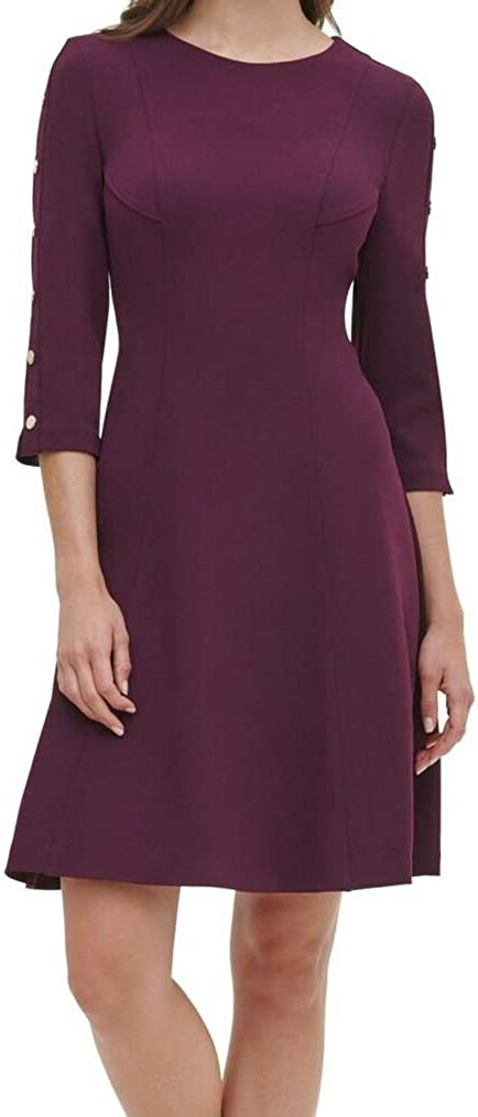 Tommy Hilfiger Women's Fit and Flare Button Sleeve Dress