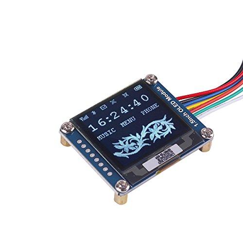 MakerHawk I2C OLED-Anzeigemodul 1.5inch OLED-Modul mit 128x128 Pixeln, 16-Bit-Graustufe und internem Controller, mit SPI / I2C-Schnittstelle, DC 3.3V / 5V IoT-Funktionen für Arduino