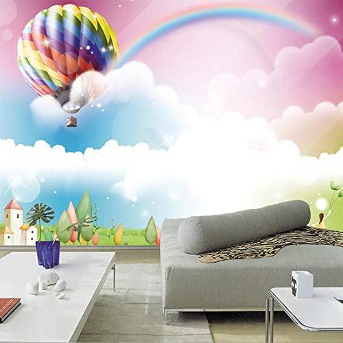 Fotobehang 3D Cartoon Ballon Regenboog Leuke Muren Behang Kinderen Kinderen Slaapkamer Thuis Decor Achtergrond Muur Schilderij-250Cm (W) X 175Cm (H)