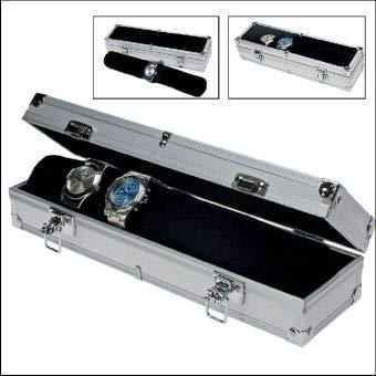 SAFE 255 Boîte de rangement en aluminium pour 7 montres | avec rouleau de velours noir comme porte-montre | couvercle transparent | 330 x 75 x 90 mm