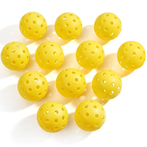 HAIXING Pickleball Balls, Premium Indoor and Outdoor Pickle Balls – 26 and 40 Holes Durable and High Visibility for Pickleball Games (12 Packs)