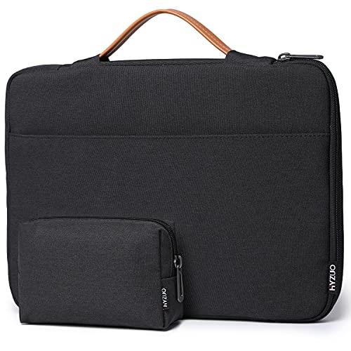 HYZUO 13-13,5 Pulgadas 360° de Protección Funda Bolso para Portátil Compatible con MacBook Air 13 M1/ Macbook Pro 13 M1/ 13,5 Surface Laptop 4 3/ Dell XPS/Inspiron 13/ HP ENVY/Spectre x360 13, Negro-H