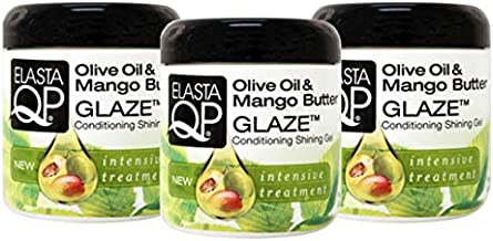 Elasta QP Glaze Mango Butter Moisturizer (3 Pack) - For Softer Fuller Looking Hair, Intensive Treatment, Strengthens, Thermal Protecting, Moisturizing, Adds Shine, 6 oz