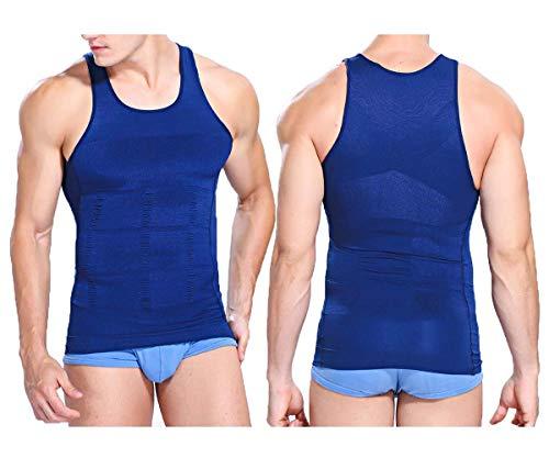 iBuylinks 2pcs Mens Compression Slimming Body Shaper Undershirt 2 White or 2 Black (S, Blue+Blue)
