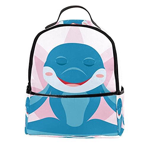 ATOMO - Mini zaino casual con delfino, loto e borsone, in pelle PU, ideale per viaggi e shopping