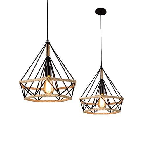 Horevo Retro Plafonnier Industriel Suspension Luminaire, Vintage Edison Cage forme Diamant en métal avec Câble Réglable 80cm, Antique Lampe Suspension E27 pour Cuisine Chambre (Ampoule Incluse)