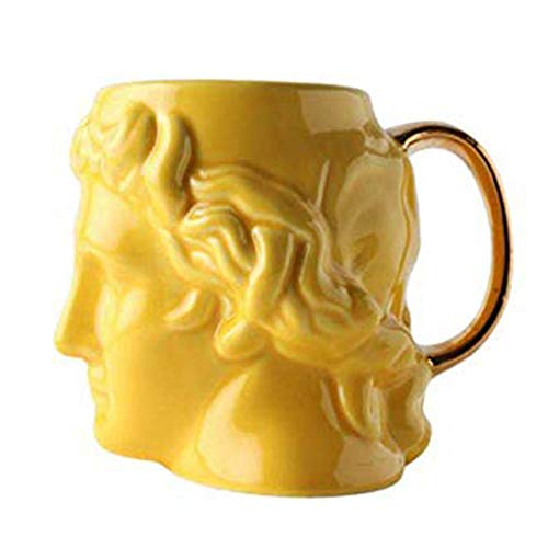 XINGYU Decoración de Escritorio Cerámica 3D Copa de Bebida Ídolo Griego Antiguo Estatua de Apolo Arte Taza de cerámica Cerveza Café Tazas de té Pub Bar Drinkware Decoración del hogar