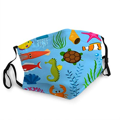 Qinckon Reusable Face Shield Mouth Cover Set Aquatic Funny Sea Animals Underwater Creatures Cartoon Characters Shell Aquarium Sealife