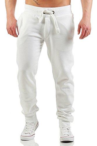 Happy Clothing Herren Jogginghose mit Reißverschluss Slim Fit, Größe:S, Farbe:Weiß