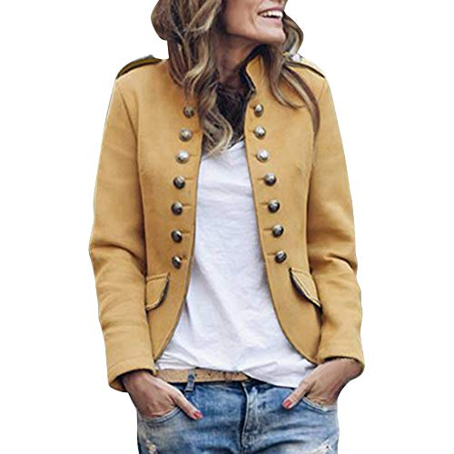 Vertvie Dames Blazer lange mouwen slim fit jas pak business top open cardigan vintage uniform knoppen