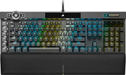 Corsair K100 RGB Mechanische Gaming-Tastatur (CHERRY MX SPEED: Schnell & Hochpräzise, RGB Beleuchtung, Handballenauflage Kunstleder, Integration Elgato Stream Deck, QWERTZ) Schwarz