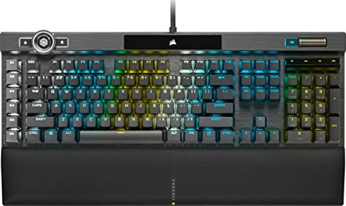 Corsair K100 RGB Optisch-Mechanische Gaming-Tastatur (CORSAIR OPX Optical: Blitzschnelle & Linearer, RGB Beleuchtung, Handballenauflage Kunstleder, Integration Elgato Stream Deck, QWERTZ) Schwarz