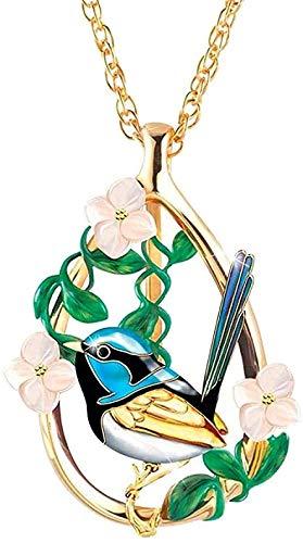 Yiffshunl Collar Mujer Animal Collar Creativo Pájaro Gorrión Flor Urraca Epoxi Colgante Cadena Encanto Oro Amarillo Color Collar Colgante Collar Regalo para Mujeres Hombres Niñas Niños