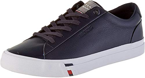 Tommy Hilfiger Herren Corporate Leather Sneaker, Blau (Desert Sky Dw5), 43 EU