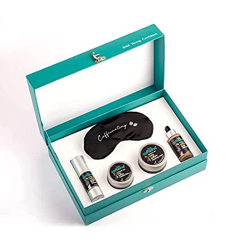 mCaffeine Pro Coffee Night Skincare – Gift Set   Serum, Under Eye Cream, Moisturizer, Sleeping Mask & Mulberry Silk Eye Mask   Gender Neutral, Cruelty Free & Vegan Gifting