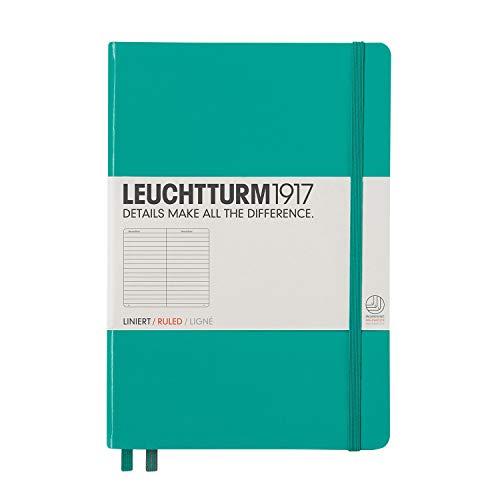 LEUCHTTURM1917 334790 Notizbuch Medium (A5), Hardcover, 251 nummerierte Seiten, Smaragd, liniert