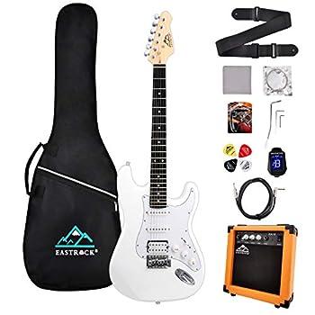 Eastrock 39 inch Full Size Electric Guitar Kit for Beginner Starter with 10w Amplifier Bag Capo,Shoulder Strap String,Cable Tuner,Picks  White