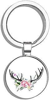 HJ Media Deer Antlers with Flowers Boho Cute Metal Round Metal Key Chain Keychain Ring