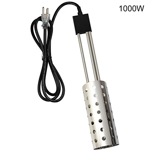 1000W Immersion pool Heater, Gesail UL-Listed Bucket Water Heater with Heating Element, Submersible Heater with Thermostat and Auto Shutoff Protection, Perfect for Home Travel and Winter Job - Silver