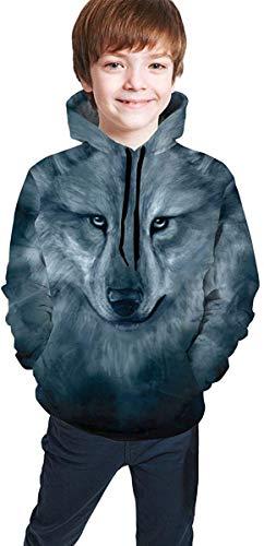 Yuanmeiju Womens Teens Kids Unisex Native American Wolf Art Hoodie 3D Digital Print Maglione Sweatshirt