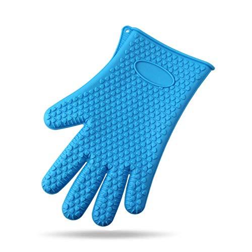 ADSE 5 Pares de Guantes de Barbacoa Resistentes al Calor, par de los Mejores Guantes de Silicona para Horno y Soportes para ollas para cocinar, cocinar, Hornear, Barbacoa (Azul)