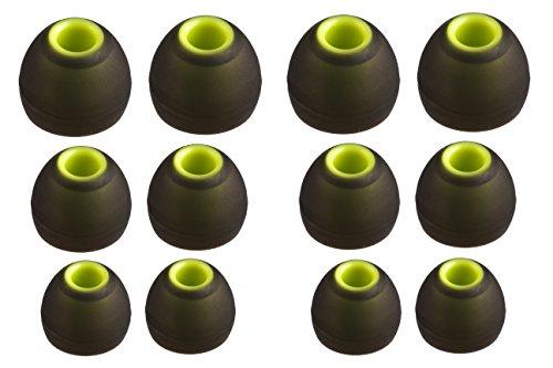XCESSOR (S/M/L) 6 Pares (12 Piezas) de Reemplazo de Silicona en Auriculares intrauditivos Auriculares de tamaño S/M/L. Reemplazo de Auriculares para Auriculares Populares intrauditivos. Negro/Verde
