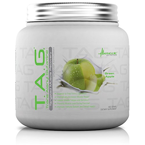 Metabolic Nutrition, TAG, Trans Alanyl Glutamine, 100% L-Glutamine Peptide Powder, Pre Intra Post Workout Supplement, Green Apple, 400 Grams (40 Servings)