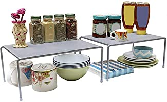 Callas Stackable Kitchen Cabinet and Counter Shelf Organizer (Pack of 2 | Color - Silver | Model - CA91AB)