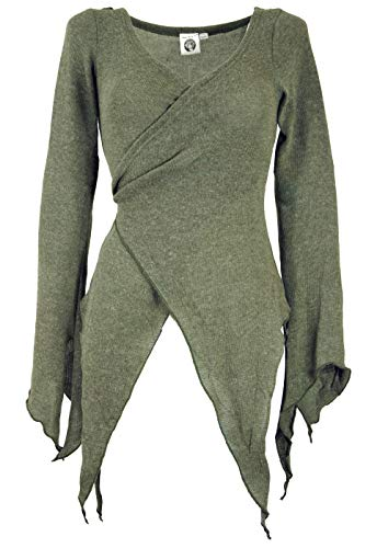 GURU SHOP Wickel-Strickjacke, Pixi Wickeljacke, Damen, Khaki, Baumwolle, Size:M/L (38), Jacken, Mäntel & Ponchos Alternative Bekleidung
