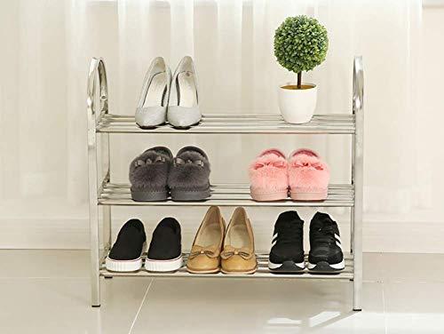GENFALIN Calzado Estanterías for el hogar, la sala del umbral de almacenamiento en rack-Shoes Plataforma de acero inoxidable estante, 3 Tier soporte del zapato portátil con antideslizante de la almoha