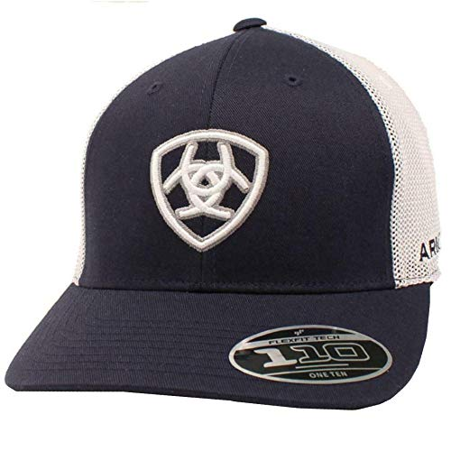 ARIAT Mens Embroidered Shield Logo Adjustable Mesh Hat (Navy/White)